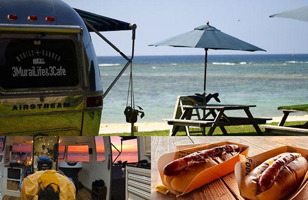 ビーチカフェとビーチサイドの床屋さん